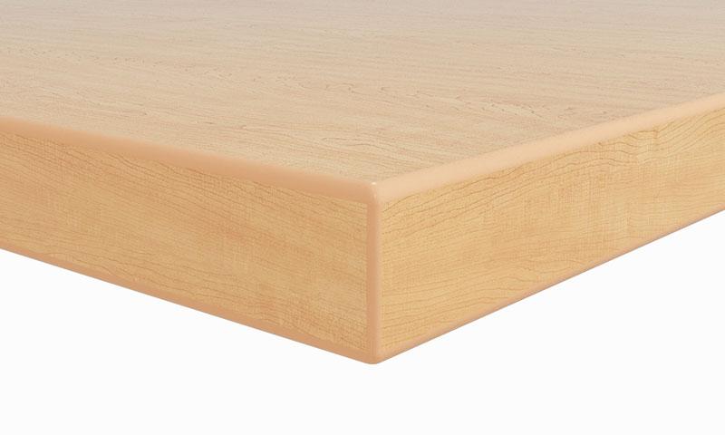 "A1: 1-1/8"" thick top; 2mm radiused PVC edge"