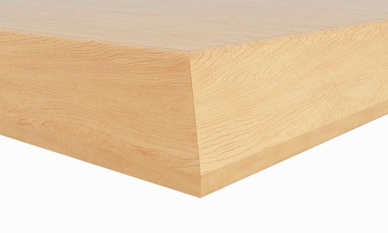 "C1: 1-1/8"" thick top; 1-1/8"" beveled hardwood edge"