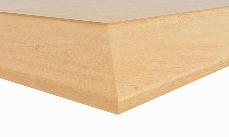 "D1: 1-1/8"" thick top; 2"" beveled hardwood edge"