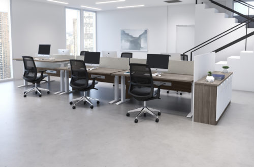 Hover Lite Workstations with Catalina Lockers