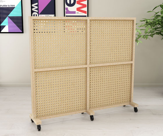 perforated wall with wheels